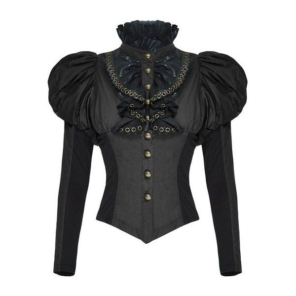 Punk Rave Womens Steampunk Shirt Top Black Steampunk Gothic Blouse VTG... ($70) ❤ liked on Polyvore featuring tops, blouses, victorian blouse, steampunk tops, gothic blouse, punk rock shirts and punk tops