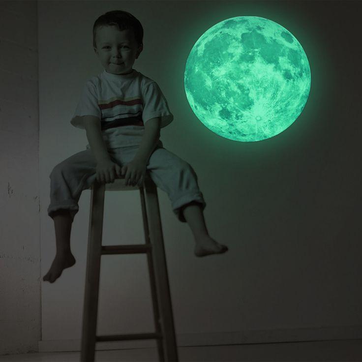 2016 Hot 30 cm Lua Luar Arte Luminosa Brilham no Escuro pintura mural Da Parede Adesivo Para Quarto de Crianças Decoração de Casa Pegatinas De Pared