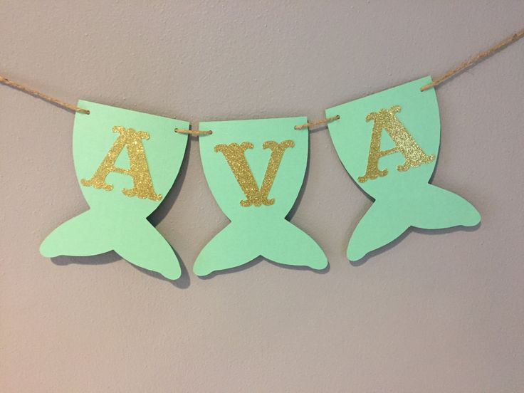 Mermaid Name Banner, baby shower, first birthday, mermaid party, under the sea, mermaid banner, MINT AND GOLD