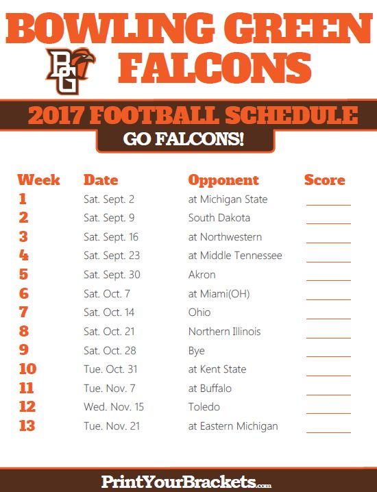 2017 Bowling Green Falcons Football Schedule