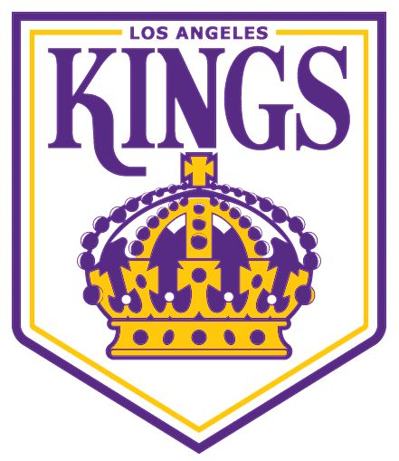 Los Angeles Kings Primary Logo (1968) - Kings in purple above a purple and yellow crown with Los Angeles above inside a purple pennant