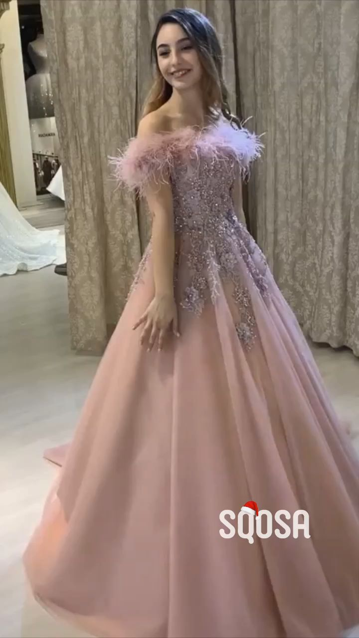 A-Line Pink Tulle Appliques Feathers Wedding Dress,Bridal Gowns.#weddings #weddingdresses #wedding2020 #pinkweddingdress #weddingday #weddingidea #weddinginspration #weddingphotography #bride #bridalgowns #promdress