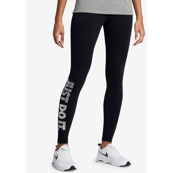 Nike Sportswear Just Do It Leggings ($55) ❤ liked on Polyvore featuring pants, leggings, black, multi color pants, multi colored pants, legging pants, hologram leggings and slim pants