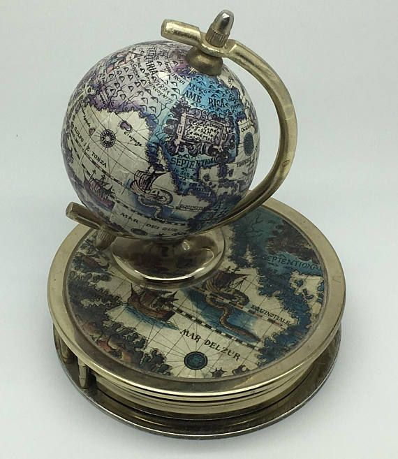 """Vintage Old World Globe Magnifying Magnifer Glass Paper Weight Globe Spins Desk Accessories Decor Man Cave Preowned, good vintage condition Approx height 4 """" Approx diameter 3 3/8 """" There is some light Wear on top of the globe , see close up picture"""