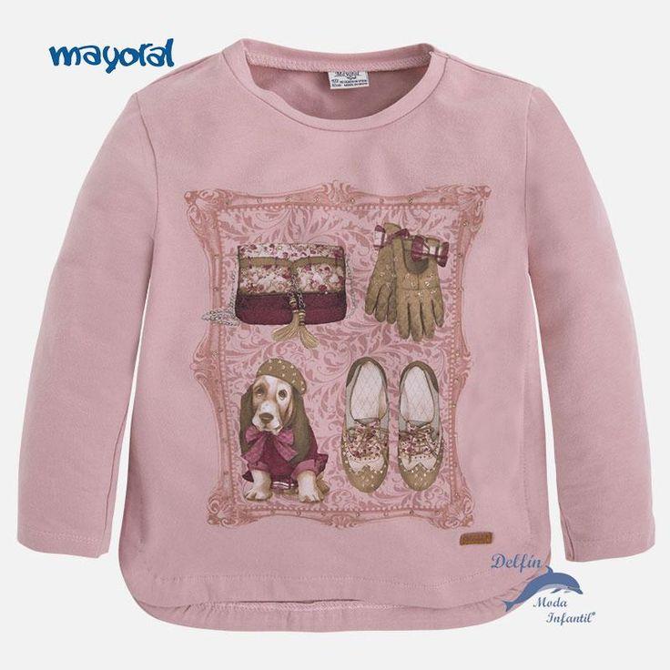 Camiseta de niña MAYORAL manga larga perrito color rosado