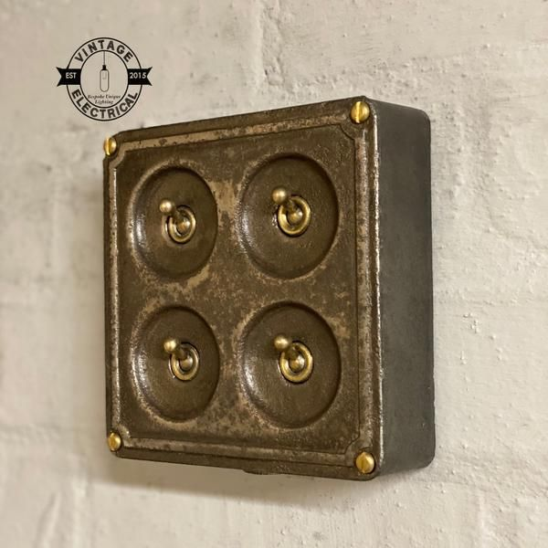 4 Gang Crabtree 1950 S Brass Toggle Light Switch With Industrial Vintage Cast Iron Pewter Box Restored A10574 In 2020 Toggle Light Switch Vintage Industrial Vintage