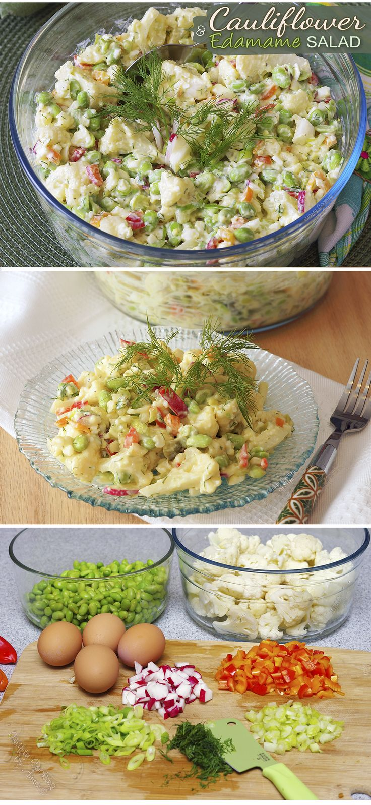 Healthy Cauliflower and Edamame Salad! Low-Calorie alternative to the potato salad! #easy #delicious #satisfying