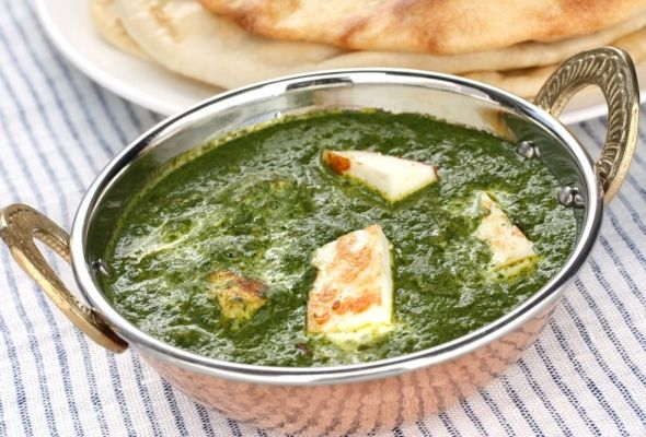 Sunday Slow Cooker: Saag Paneer, 5 P+ and under 200 calories - healthy Indian food: add about half again as much coconut milk and some additional garam masala and cumin. Easy to make entirely vegetarian with tofu instead of paneer.
