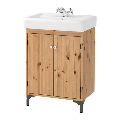 IKEA - SILVERÅN / HAMNVIKEN, Mască chiuvetă 2 uşi, maro des, , Lemnul masiv de pin are o textură deosebită; fiecare piesă de mobilier este unică.Colectorul de apă flexibil inclus este ușor de conectat la scurgere, mașina de spălat și uscător.Picioare ajustabile pentru o stabilitate mai mare şi protecţie împotriva umezelii.O soluţie bună pentru cei cu spaţiu limitat.