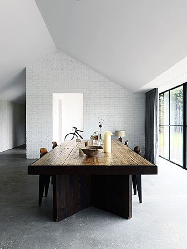 Modern Dining Room Wood Table White Brick Wall Big Glass Sliding Doors      Love This Wooden Table