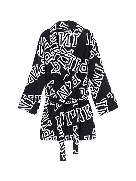 aa9127cf49 Victoria s Secret Pink Cozy Robe Black Font Print at Amazon Women s  Clothing store