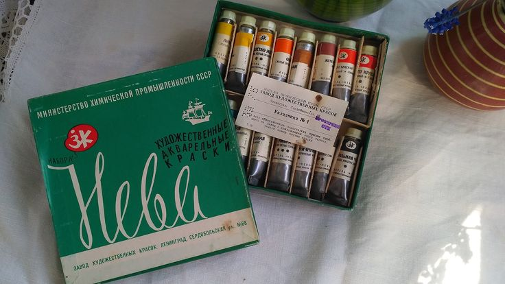 Watercolor paints set. Neva. Watercolor painting. Old watercolor. Soviet watercolor. Materials for painting. USSR. by VintageParsel on Etsy