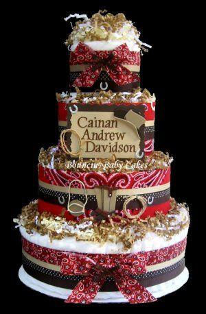 Cowboy Baby Shower Diaper Cake/ Centerpiece Gift - cute idea