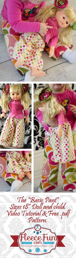 You can make cute pants for an 18 inch doll (or American Girl Doll) and your little girl that match.  Easy free pattern and tutorial.