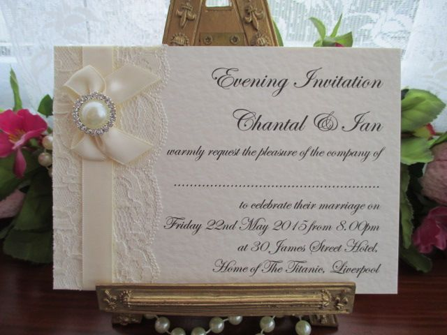 K0044 A6 Flat Postcard Lace Diamante Pearl Evening Invitation Available from www.vintagelaceweddingcards.co.uk