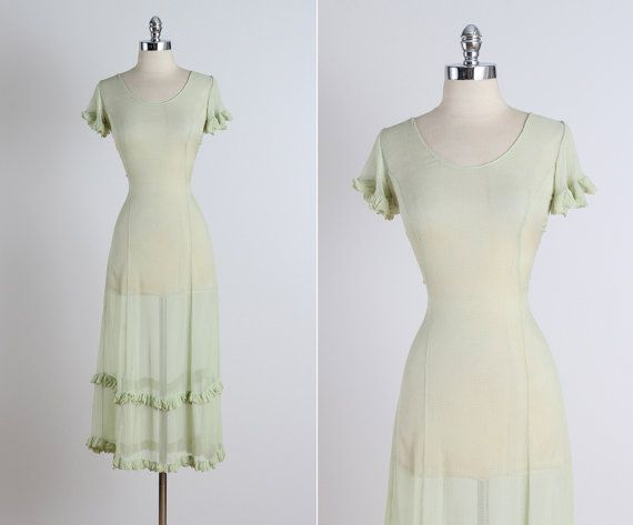 Evening Mist . vintage 1930s dress . vintage by millstreetvintage