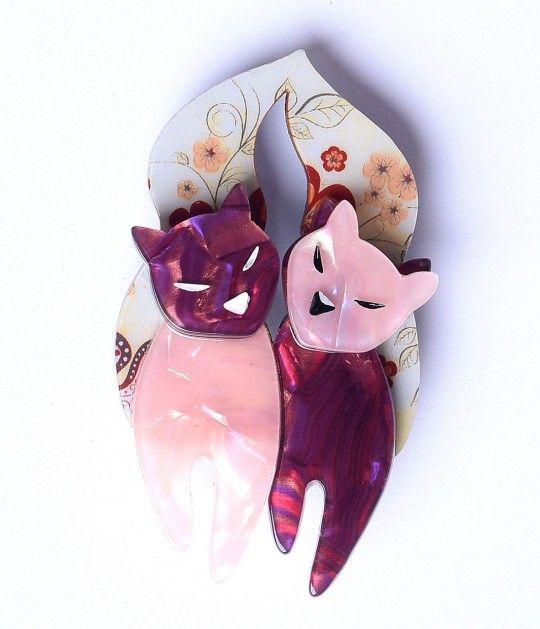 Erstwilder Pink & Purple The Lovecats Resin Brooch