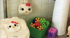 My Crochet , Mis Tejidos by Luna: Juego de Baño KITTY.