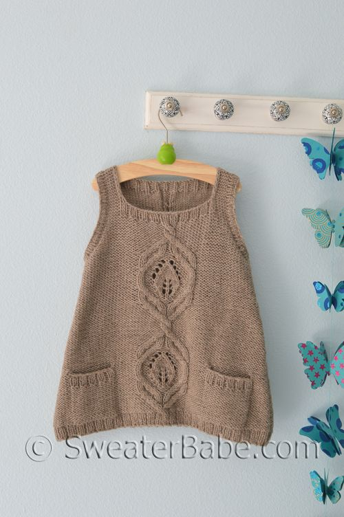 PDF Knitting Pattern for Kiana Vest for Girls from SweaterBabe.com
