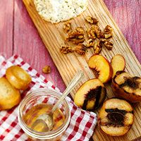 Plank-Smoked Peaches and Goat Cheese - Sweet?  Savory?  I have no idea....I just want to put it in my face.