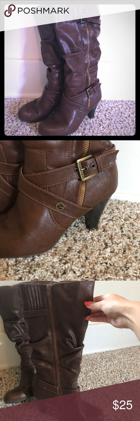 G by Guess Brown Heel Boots G by Guess dark brown mid-calf heel boot. Buckle and zipper accents on outside. Full zipper on inside for easy on and off. Stretchy at top so no worries if you have wide calfs. True to size - Size 9. Would not wear thick socks. 2-2 1/2 in heel if that. Smoke free home. G by Guess Shoes Heeled Boots