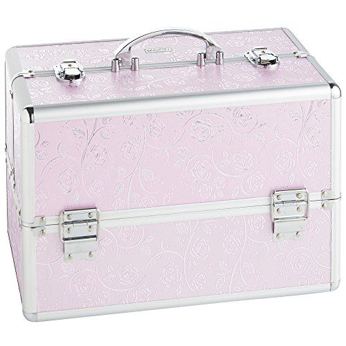 "Beautify Large Pink Rose Makeup Cosmetic Organizer Train Case 14"" Professional Aluminum Storage Box with Dividers and Lock. For product & price info go to:  https://beautyworld.today/products/beautify-large-pink-rose-makeup-cosmetic-organizer-train-case-14-professional-aluminum-storage-box-with-dividers-and-lock/"