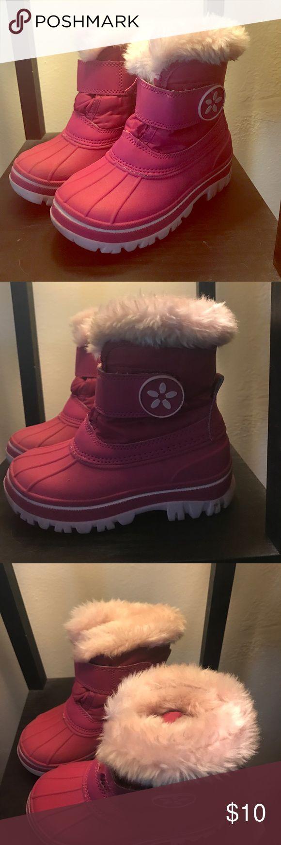 Pink Toddler Snow Boots Pink toddler snow boots with faux fur lining. Velcro closure. Size 7/8. Cat & Jack Shoes Rain & Snow Boots