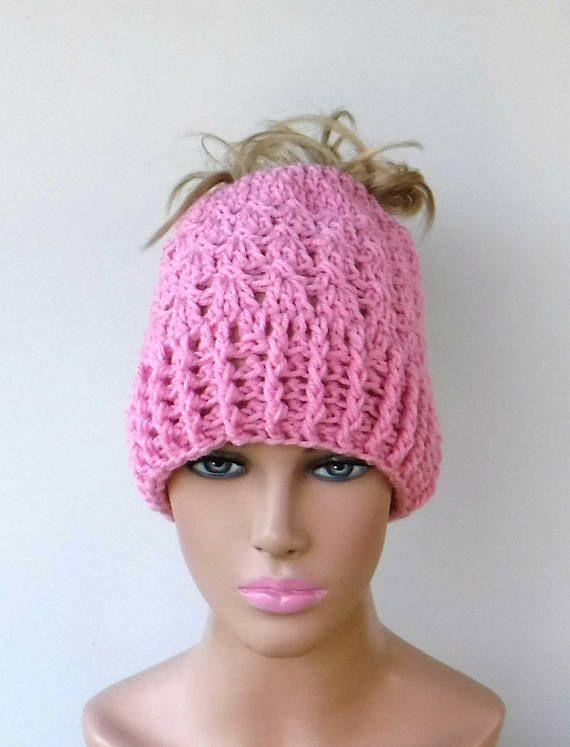 Pink messy bun beanie hat high ponytail hat open back