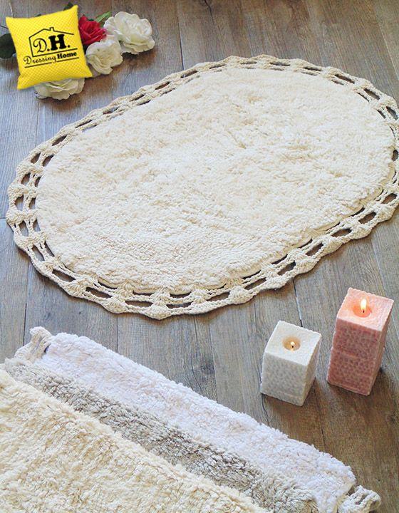 Tappeto bagno ovale con bordo crochet in colore ecru Shabby Style