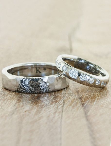 Stunning custom matching wedding bands with each other's finger print <3 Personal and loving. From Ken & Dana Designs. Ethically-sourced diamonds and recycled metals.
