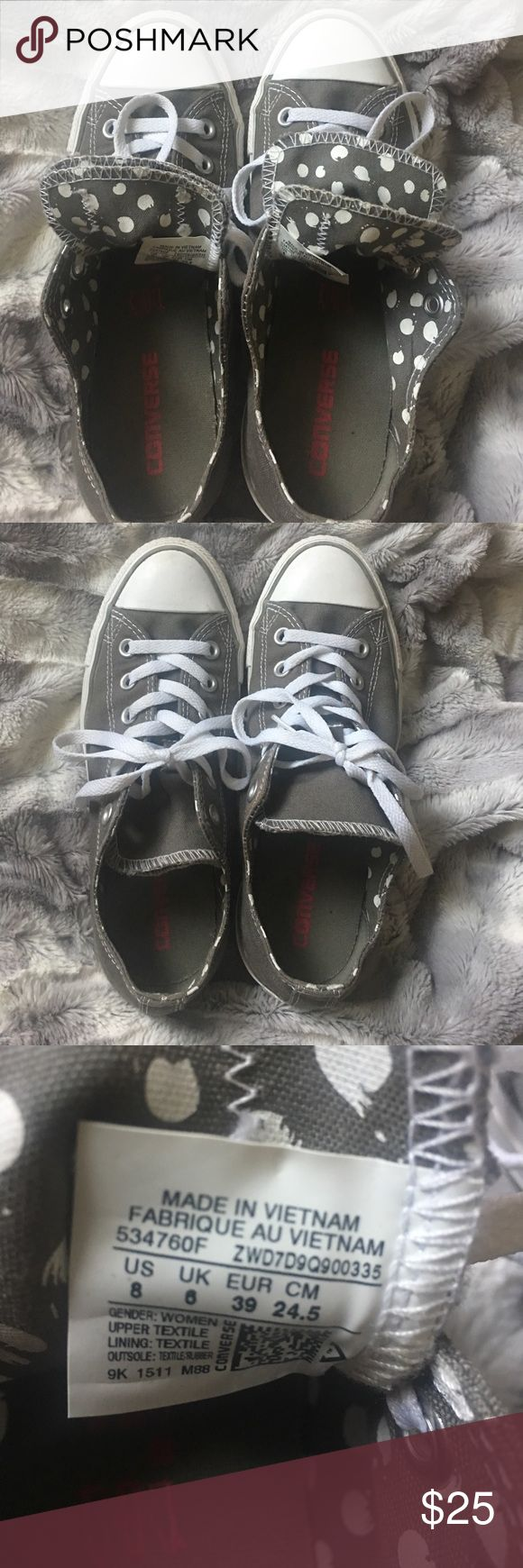 Ladies Converse All Star Polka Dot Tongue Sz 8 Ladies Converse All Star Polka Dot Tongue Sz 8.  Gently used from smoke free environment. Converse Shoes Sneakers