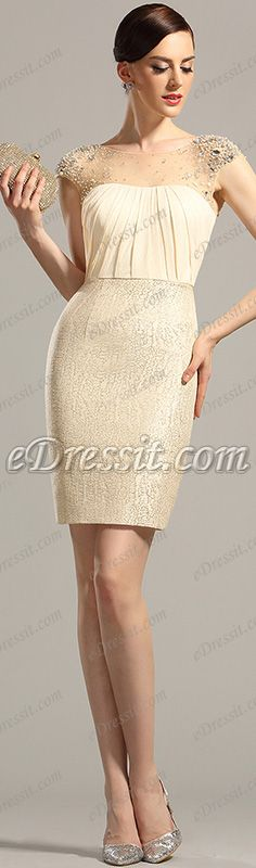 Short stylish beige dress! #edressit #dress #cocktail #fashion