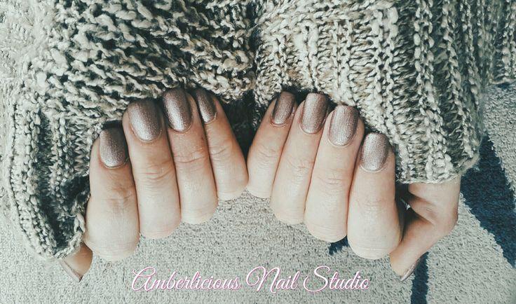 Matte shimmer nails. Powder gel.