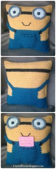 Crochet Minion Pillo - http://crochetimage.com/crochet-minion-pillo/