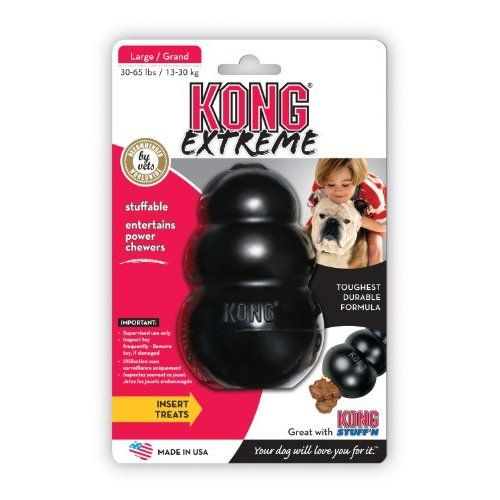 KONG Extreme Dog Toy, Large, Black  -These really work! Just add peanut butter, dog treats or even their regular food and your dog will be occupied for hours!