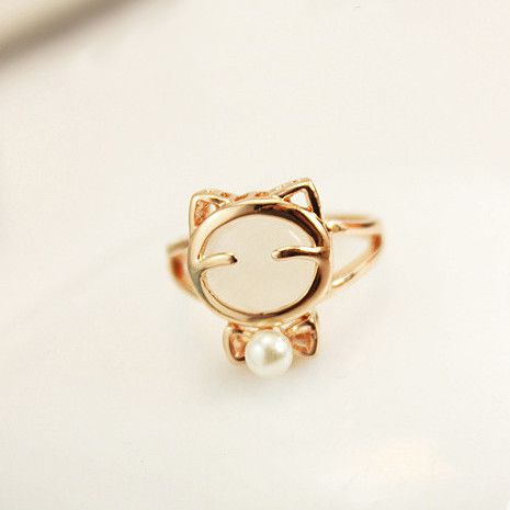 Gorgeous Alloy White Gold kitty Women's Rings