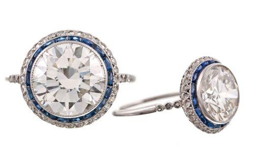 Brilliant Diamond Sapphire and Platinum Filigree Engagment Ring