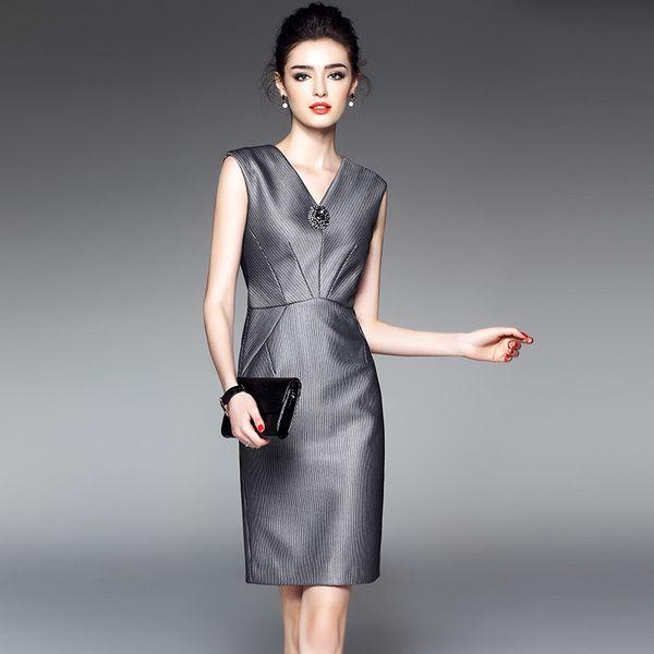 Длинные юбки края 2017 весной и летом новый женский мода без рукавов V-образным вырезом в полоску платье суб Слим оккупации ПР 1653