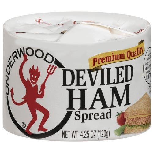 """Deviled ham"""" sandwiches – this stuff (deviled ham) came in cans and had the scent and texture of canned dog food. Description from vegcharlottenc.com. I searched for this on bing.com/images"""
