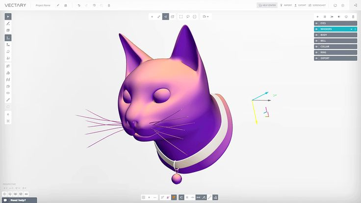 a 3D model of cat created with VECTARY - the free online 3D modeling tool #3Dprinting