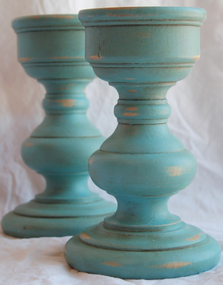 Provence Blue Pillar Candle Holders Annie Sloan Chalk