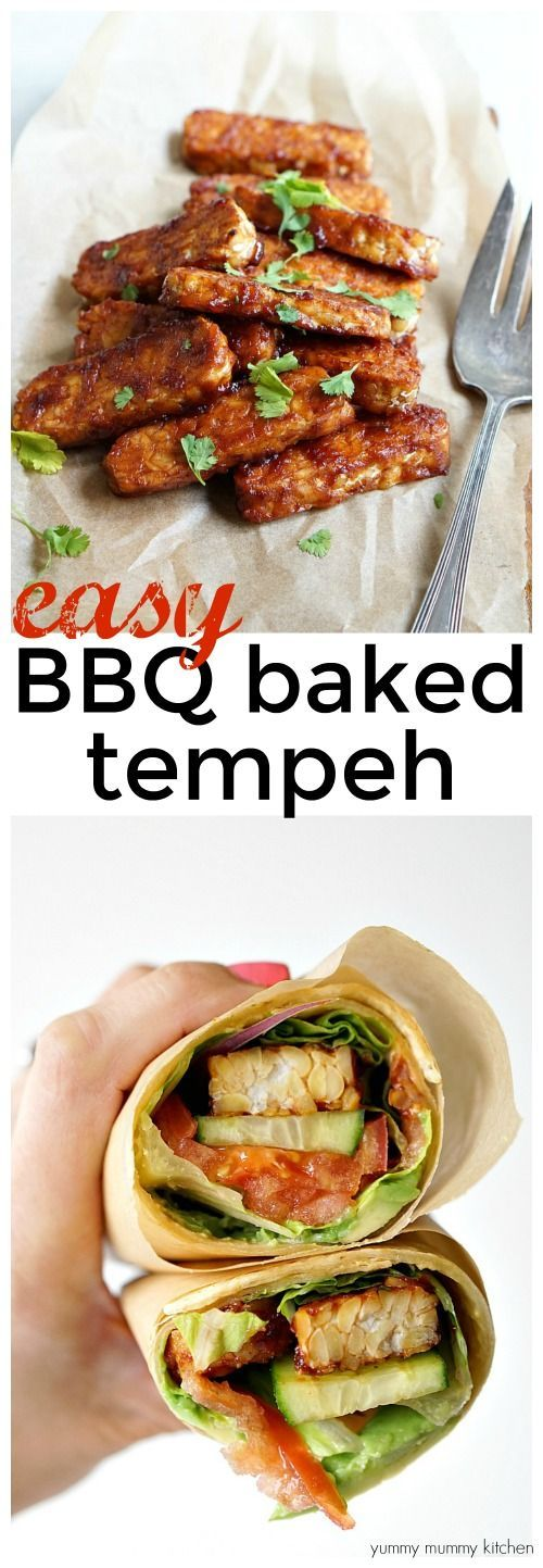 Easy 2-ingredient baked BBQ tempeh recipe. This BBQ tempeh is a great source of plant based vegan protein. It's so easy and tasty in sandwiches, wraps, on salads, and more.
