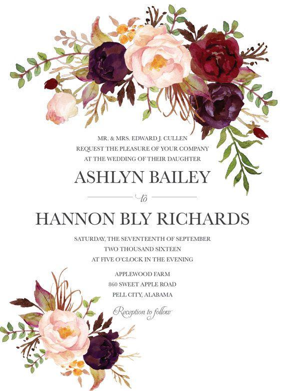 Bohemian Wedding Invitation Fall Wedding by BettyLuPaperie on Etsy