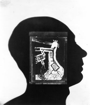 'Self Planting at Night' by Len Lye | Lye's self portrait photogram (1947) incorporates his 1930 photogram