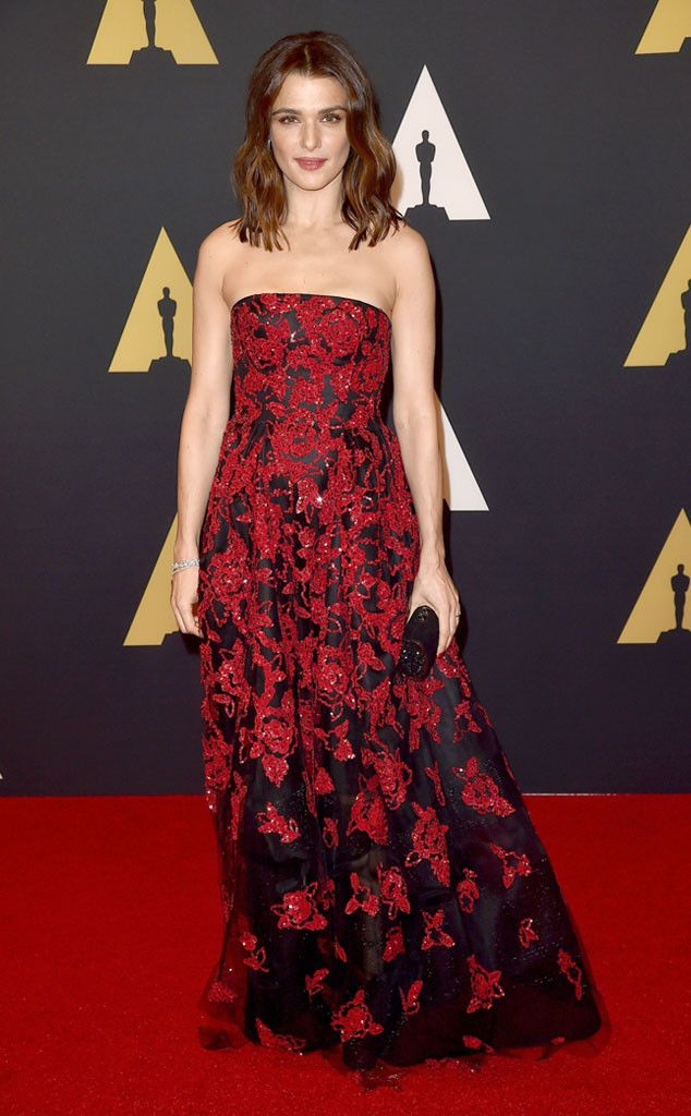 Rachel Weisz from 2015 Governors Awards: Celebrity Styles  The star of The Mummy films looks gorgeous in a red and black floral gown.
