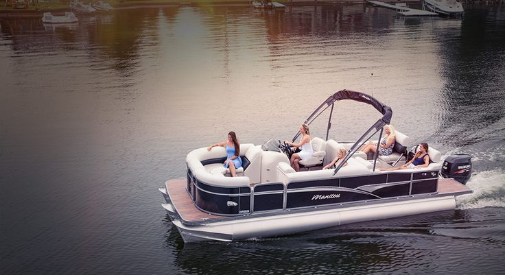 The Oasis model from Manitou Pontoon Boats is designed for affordability and functionality and is the perfect family boat. It comes with radiused front walls, wider seat depths, and ample sundeck. You can add the VP and SHP packages for additional performance.