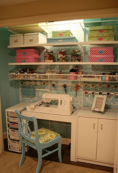craft sewing closet, craft rooms                                                                                                                                                                                 More