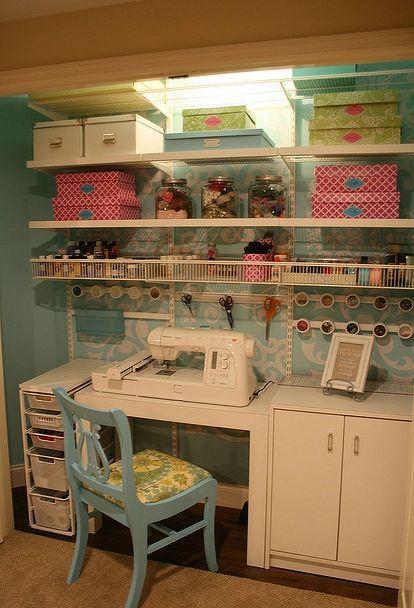 craft sewing closet, craft rooms                                                                                                                                                                                 More