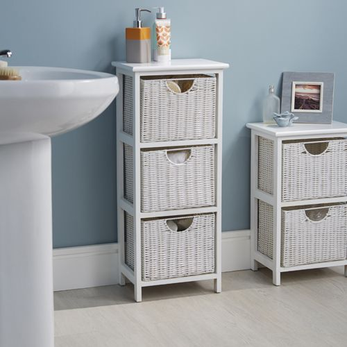 White Wood & Wicker Style Bathroom Drawer Unit 3 Drawer