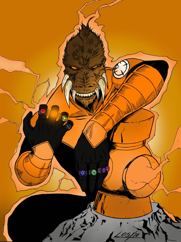 Larfleeze's power ring runs consistently at somewhere in the neighborhood of 100,000% charge, since he is the only actual Orange Lantern. Description from forums.spacebattles.com. I searched for this on bing.com/images